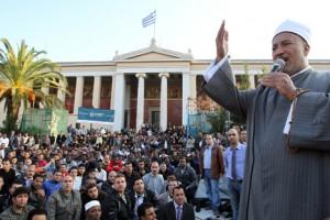 Muslims living in Greece perform Eid al-Fitr morning prayers in Athens